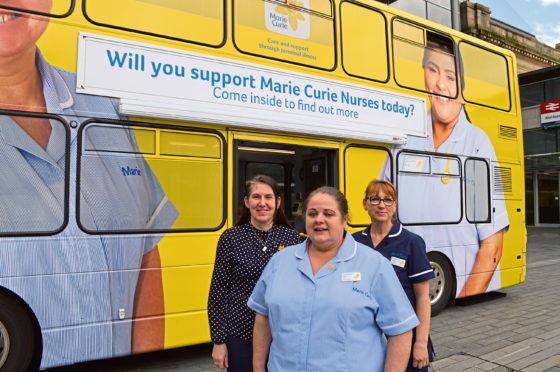 Marie Curie nurses Lorraine Mackie, Alma Ainslie-Davies and Heather Mckinnon
