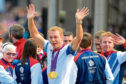 Chris Hoy wearing the two gold medals he won at the London Olympics in 2012