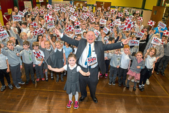 Lord Provost Barney Crockett with seven-year-old Kitty Fraser
