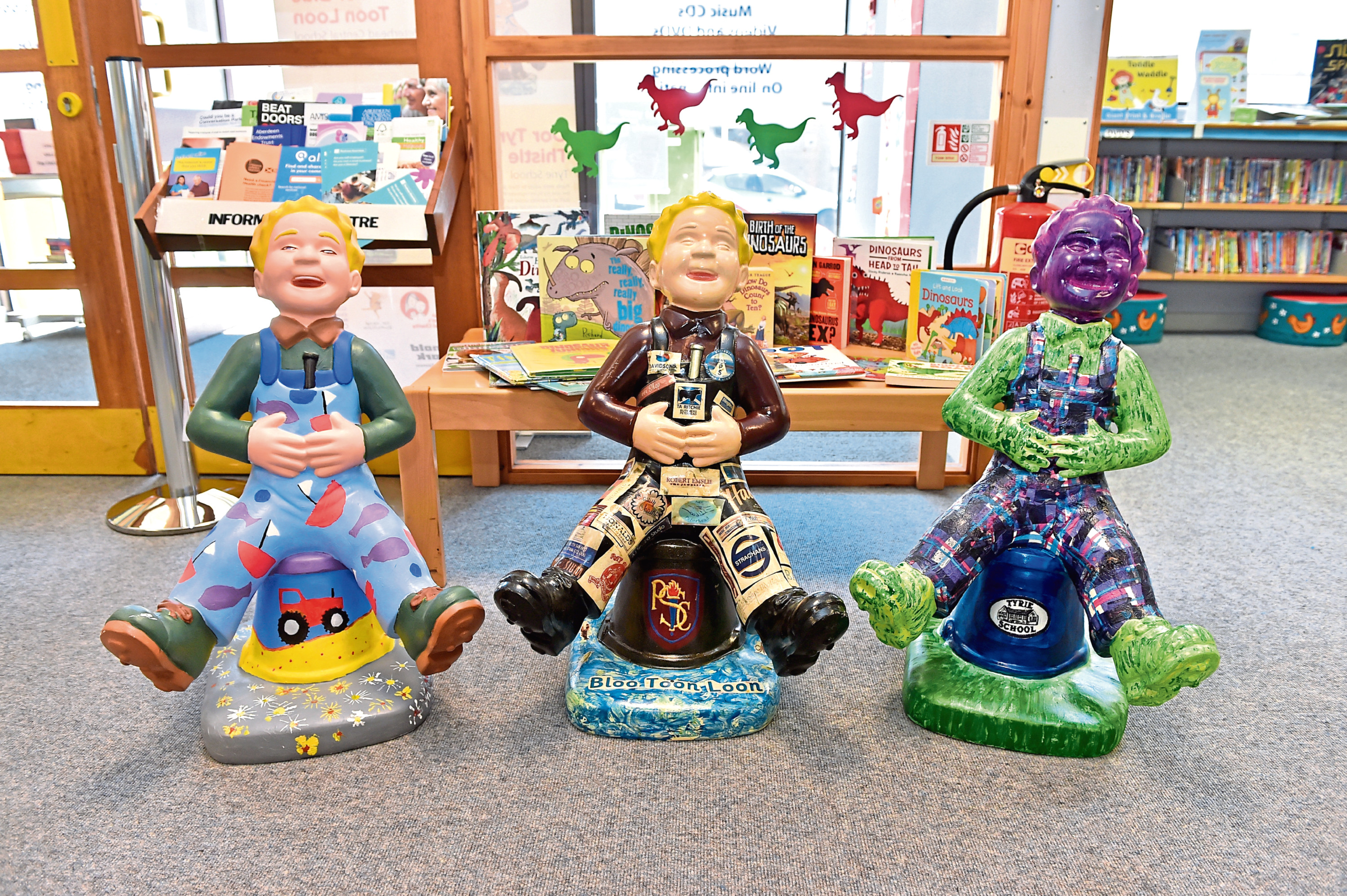 The wee Oor Wullie Sculptures are available to visit in libraries across the city
