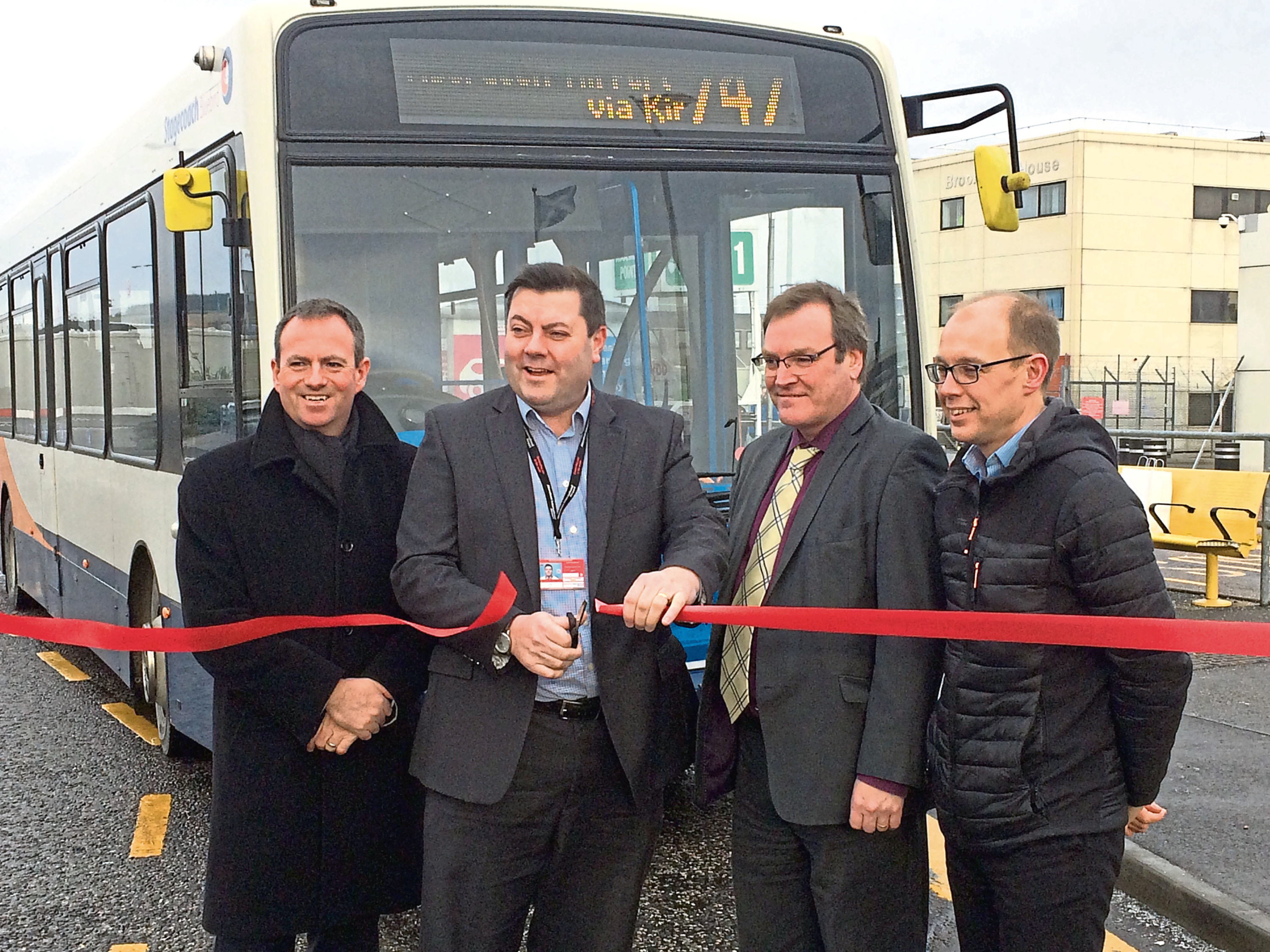David Liston, Steve Szalay, Derrick Murray and Greig MacKay at the launch of the new bus services to the airport