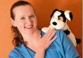 Community nurse Fiona Fairley with charity mascot Charlie Dog