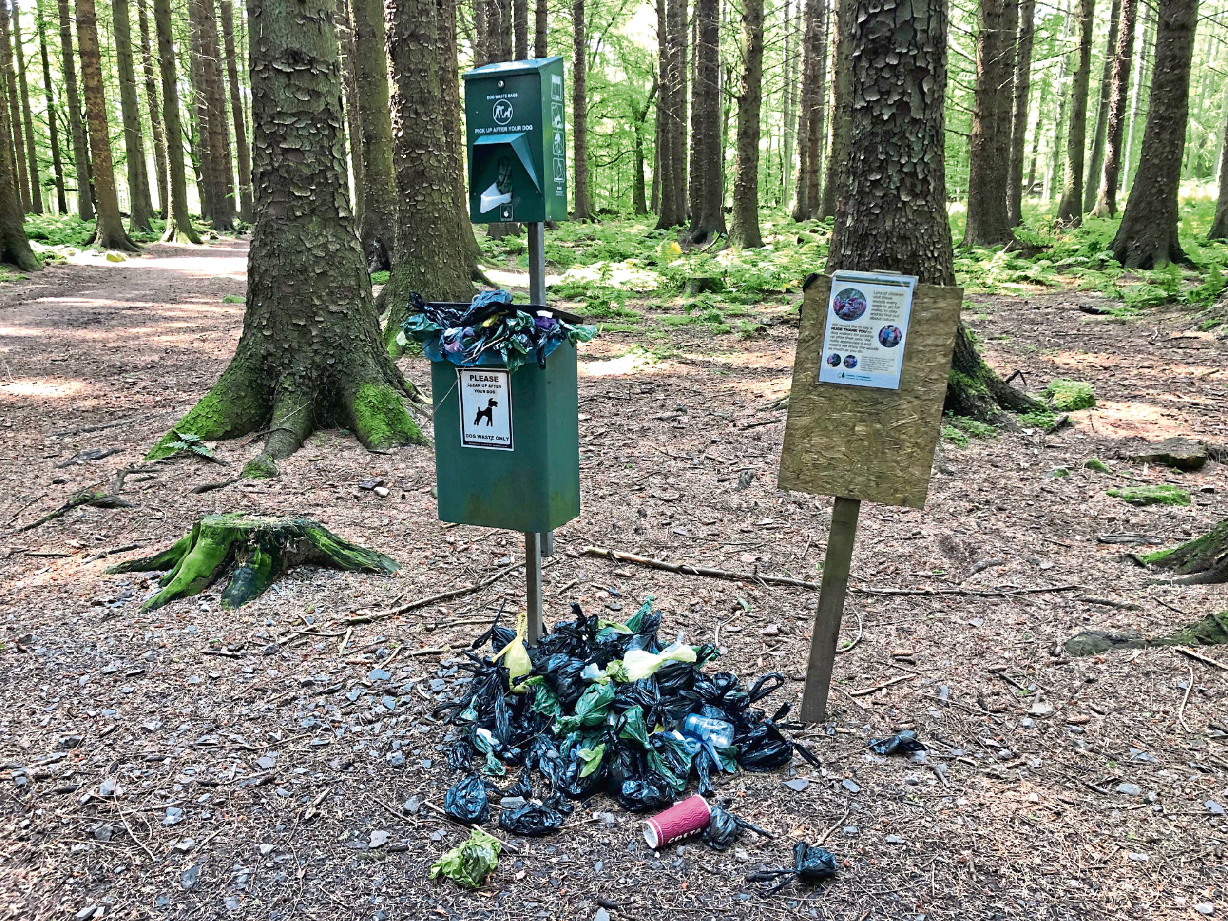 Dog poo bins at Countesswells Forest
