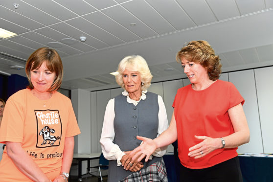 The Duchess of Rothesay meets Susan Crighton and Tracy Johnstone from Charlie House
