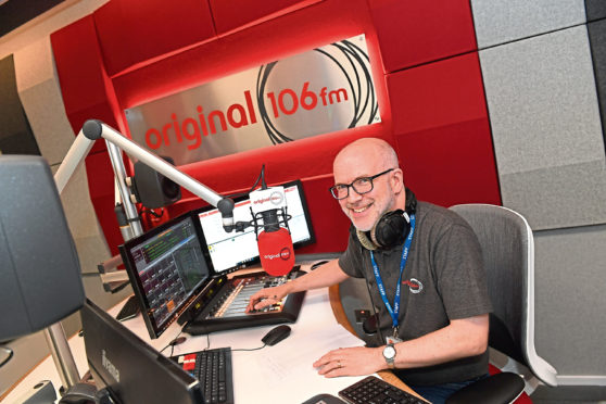 Original 106 FM presenter Martin Ingram broadcasting from Marischal Square