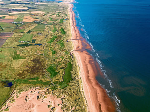 Aerial views of  the coast at Menie and the Trump International site.