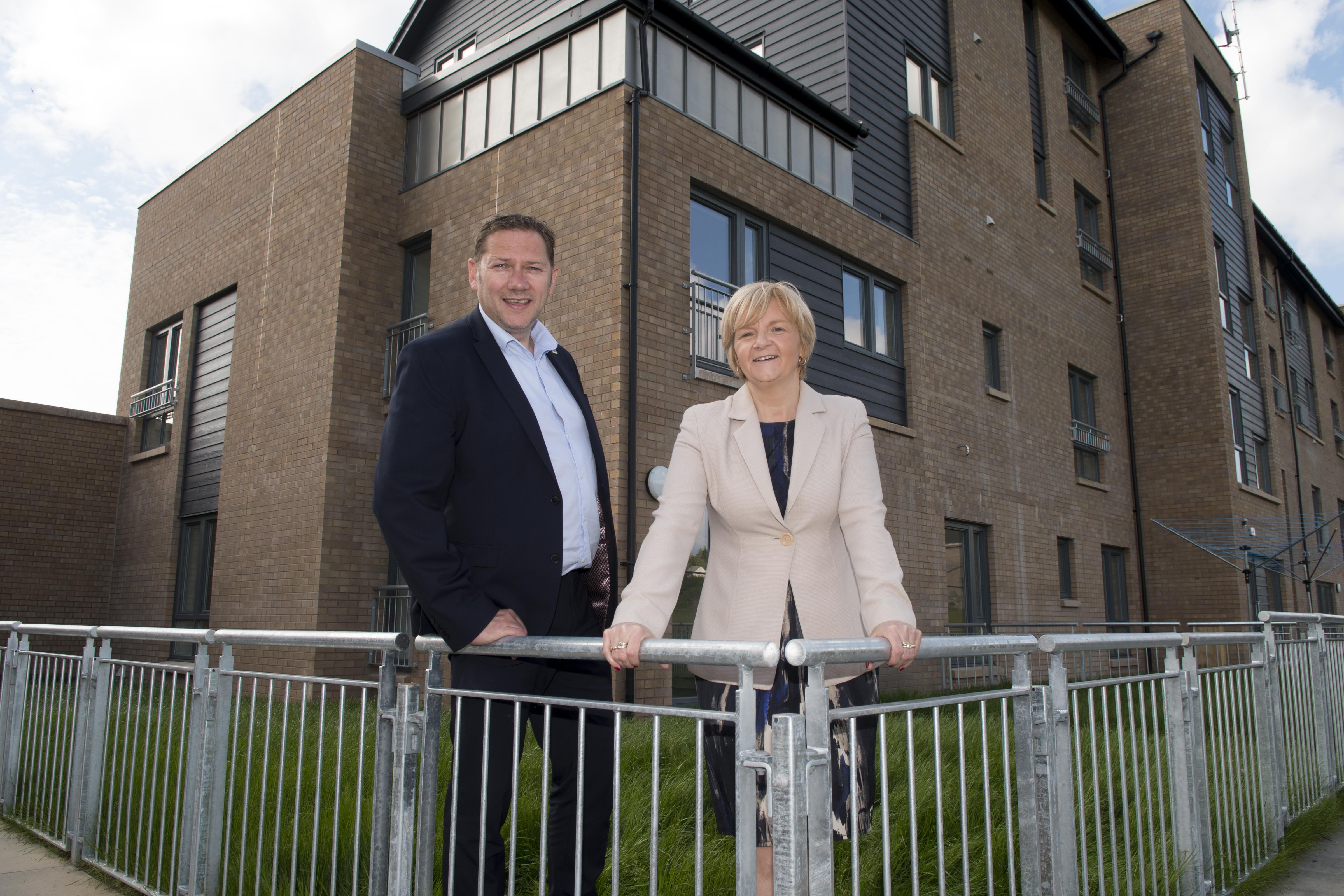 Councillors Douglas Lumsden and Jenny Laing at the Manor Walk site