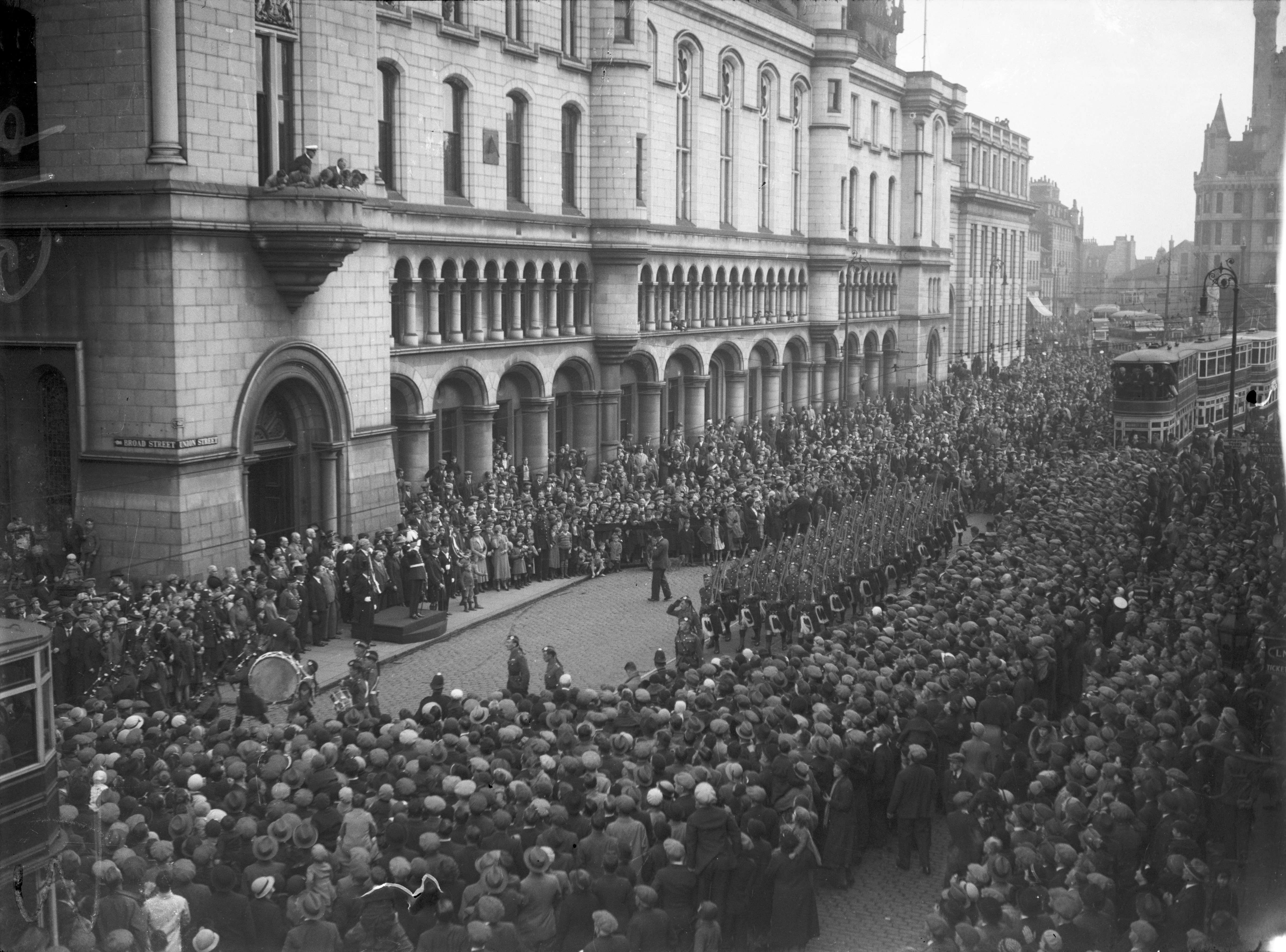 The Gordon Highlanders marching through Aberdeen on their way from their Castlehill Barracks to their new barracks at Bridge of Don, in 1935