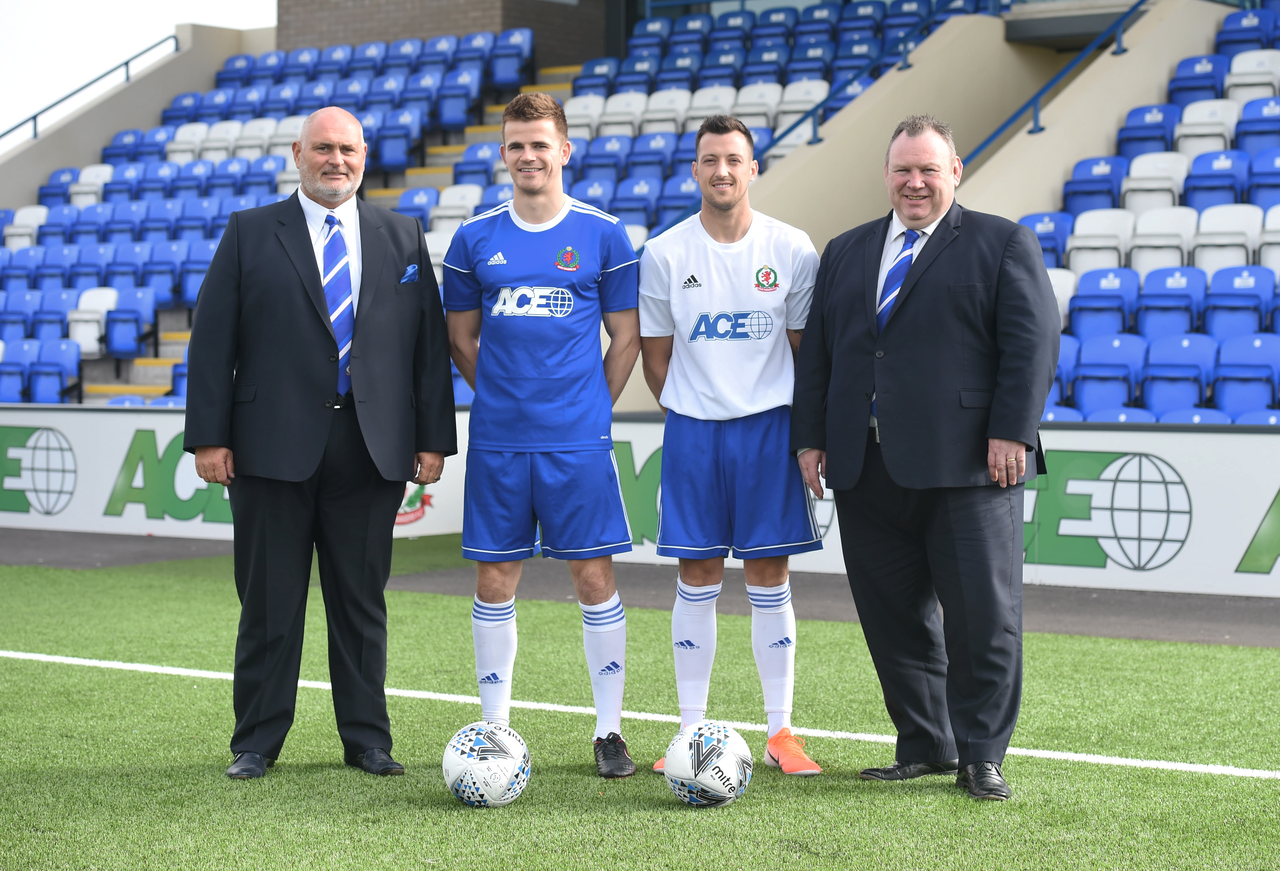 Cove reveal new sponsor ACE Group. From left, Terry Cobban, Jamie Redman, Connor Scully and Keith Moorhouse