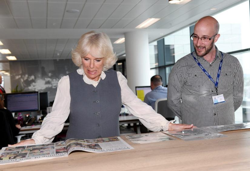 Camilla with archivist David Powell