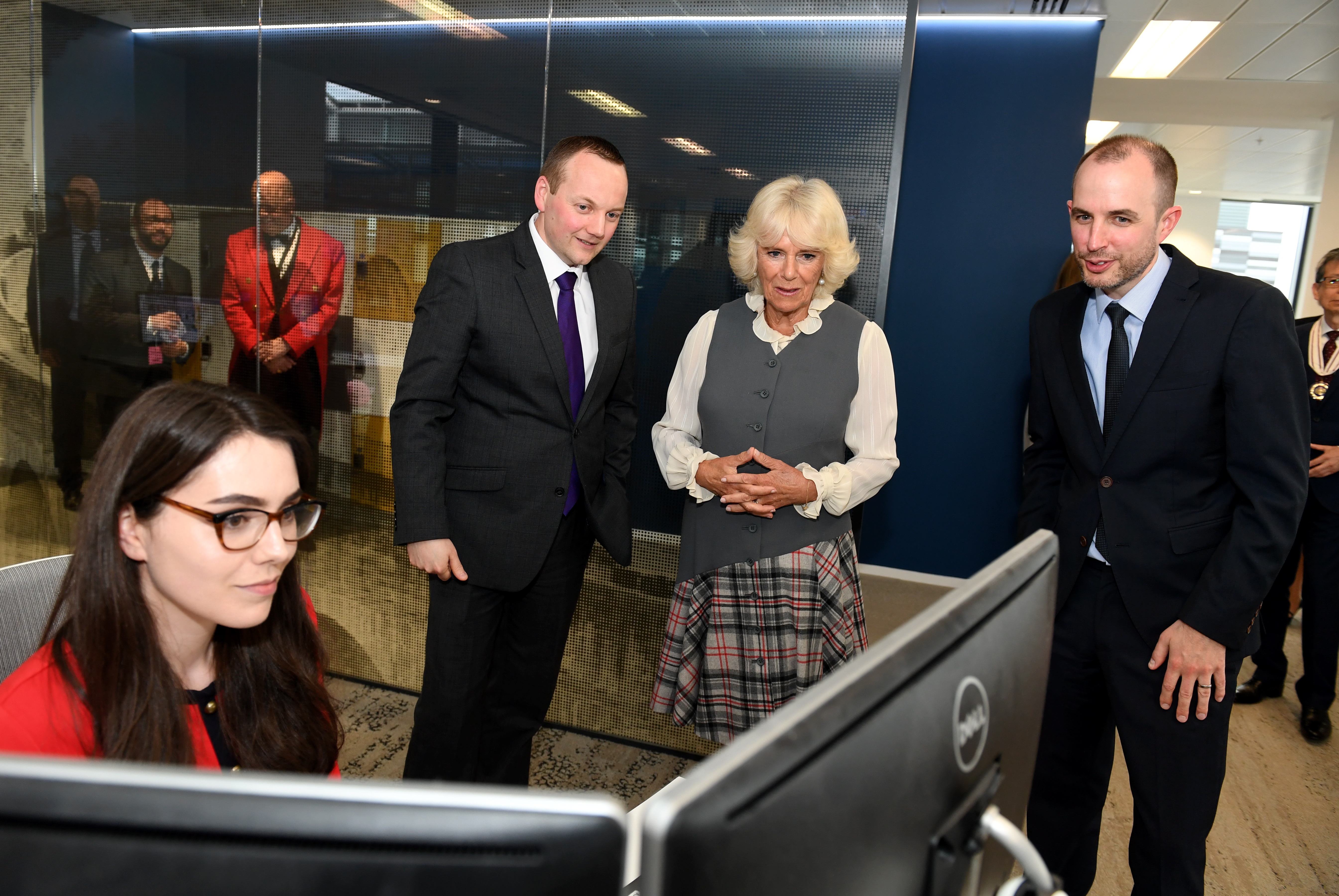 Camilla at the Evening Express news desk with Kirsty Waterston and editor Craig Walker and Alan McCabe