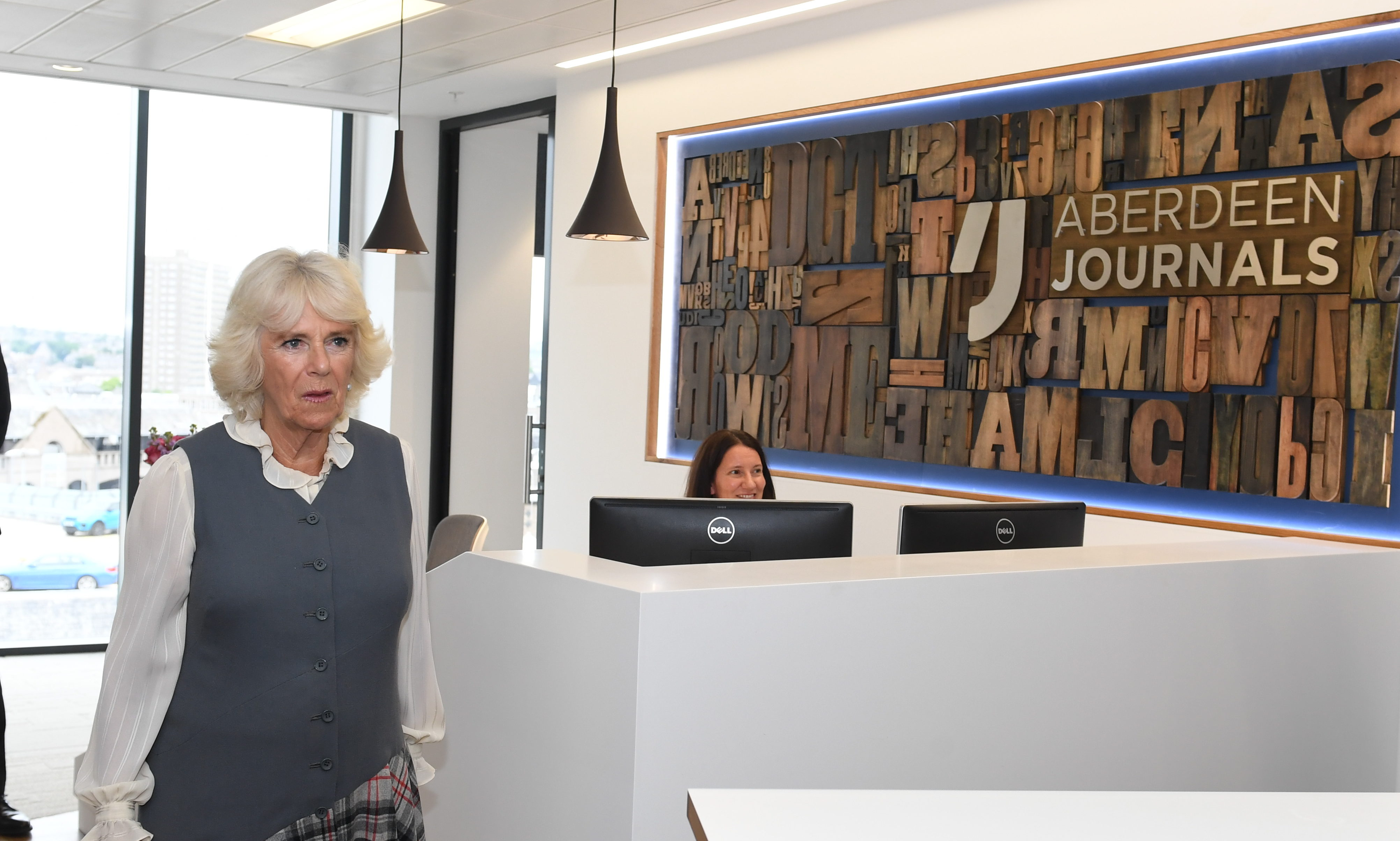 Camilla during her visit to the Aberdeen Journals office