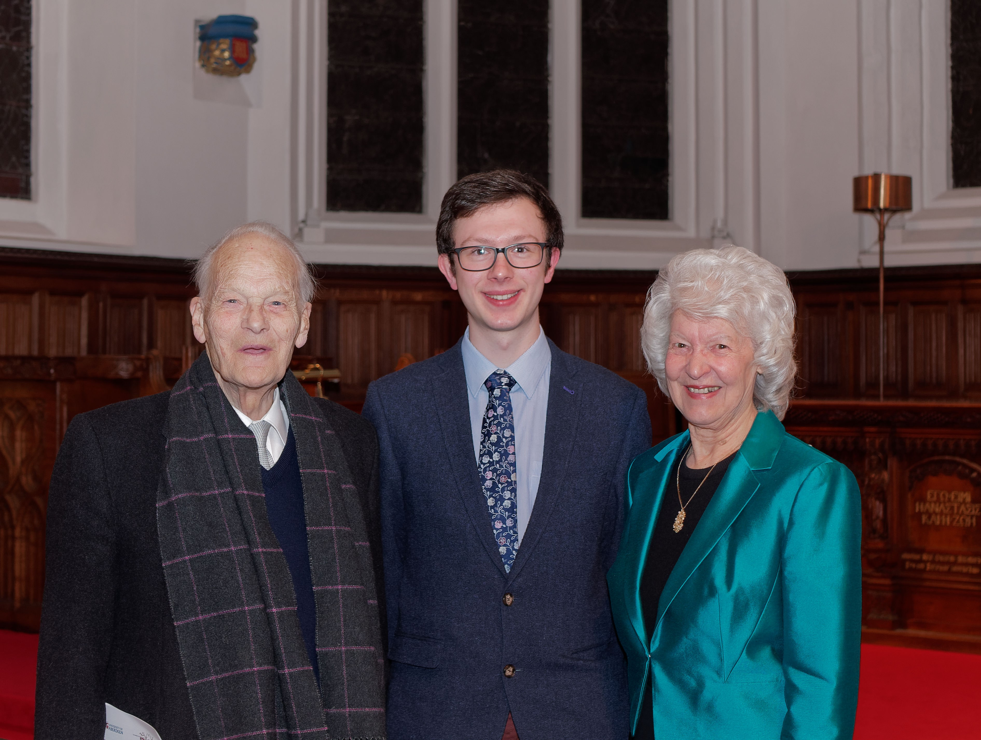Professor Derek Ogston, James Aburn and Margaret Carlaw, Professor Ogston's cousin