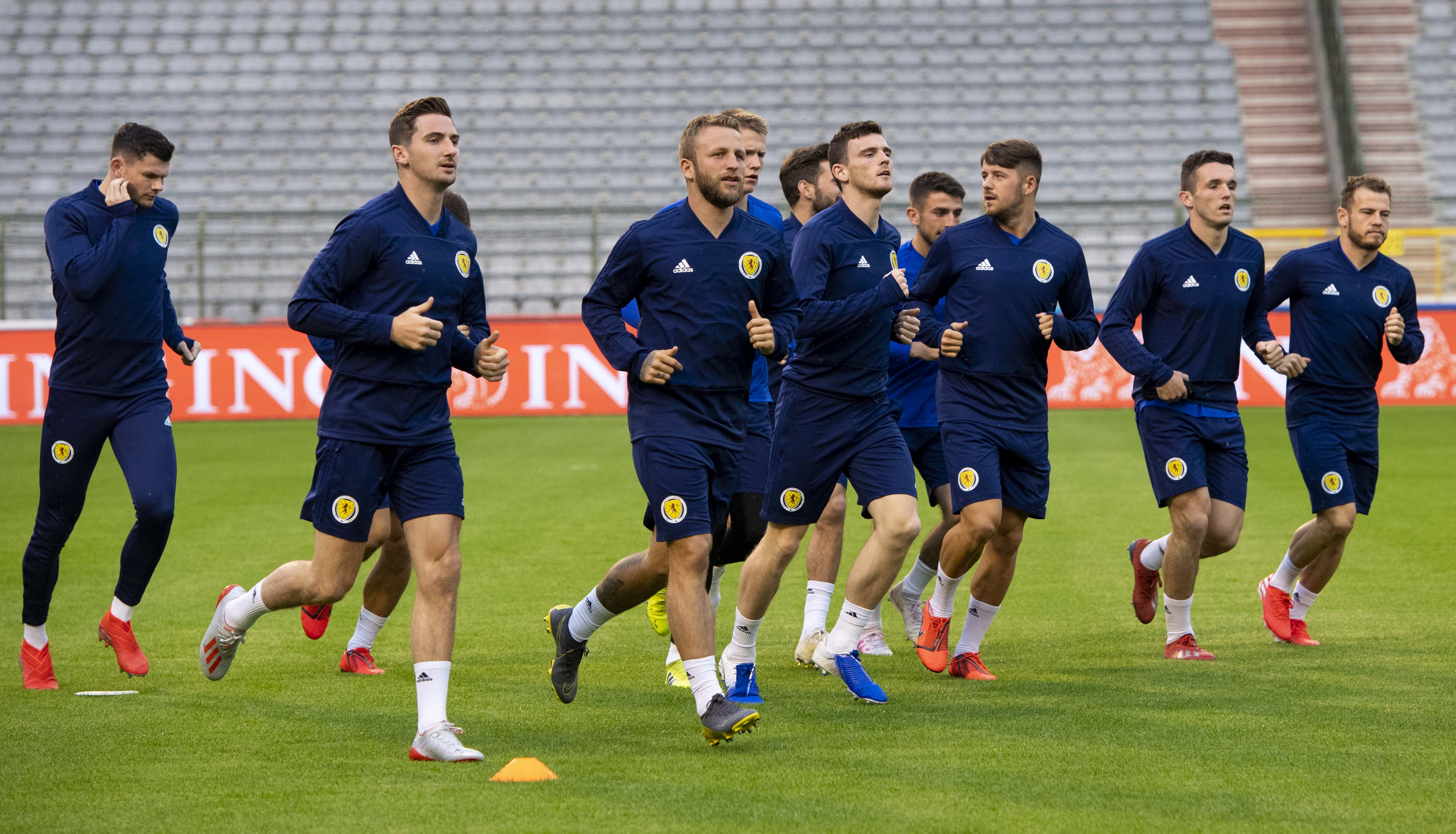 The Scotland players train in the King Baudouin Stadium.