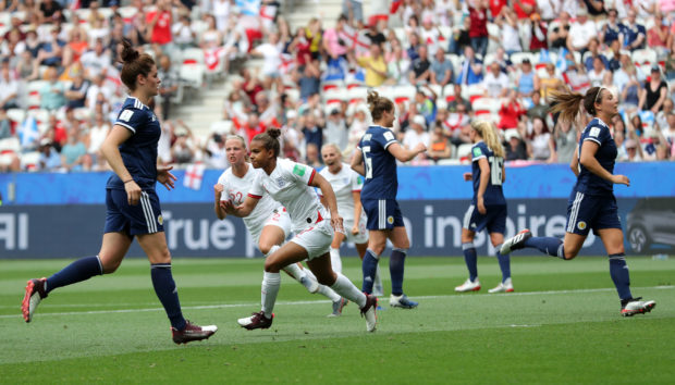 England's Nikita Parris scores her side's first goal of the game during the FIFA Women's World Cup, Group D match at the Stade de Nice.