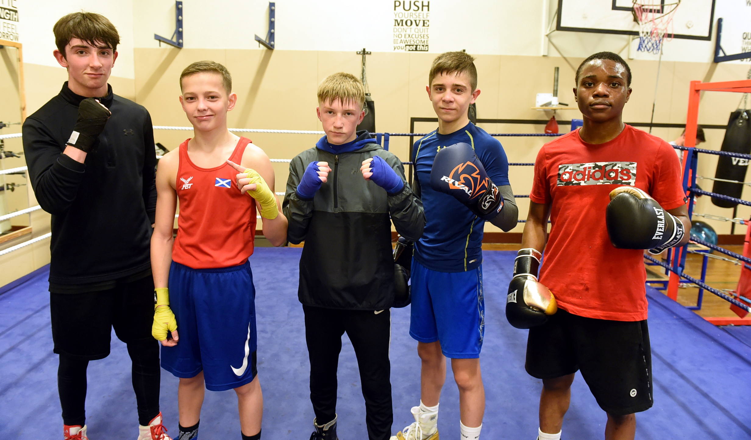 From left, Ritchie Whyte, Sonny Kerr, Gregor McPherson, Willie Williamson and Fawaz Aborope at Byron Boxing Club