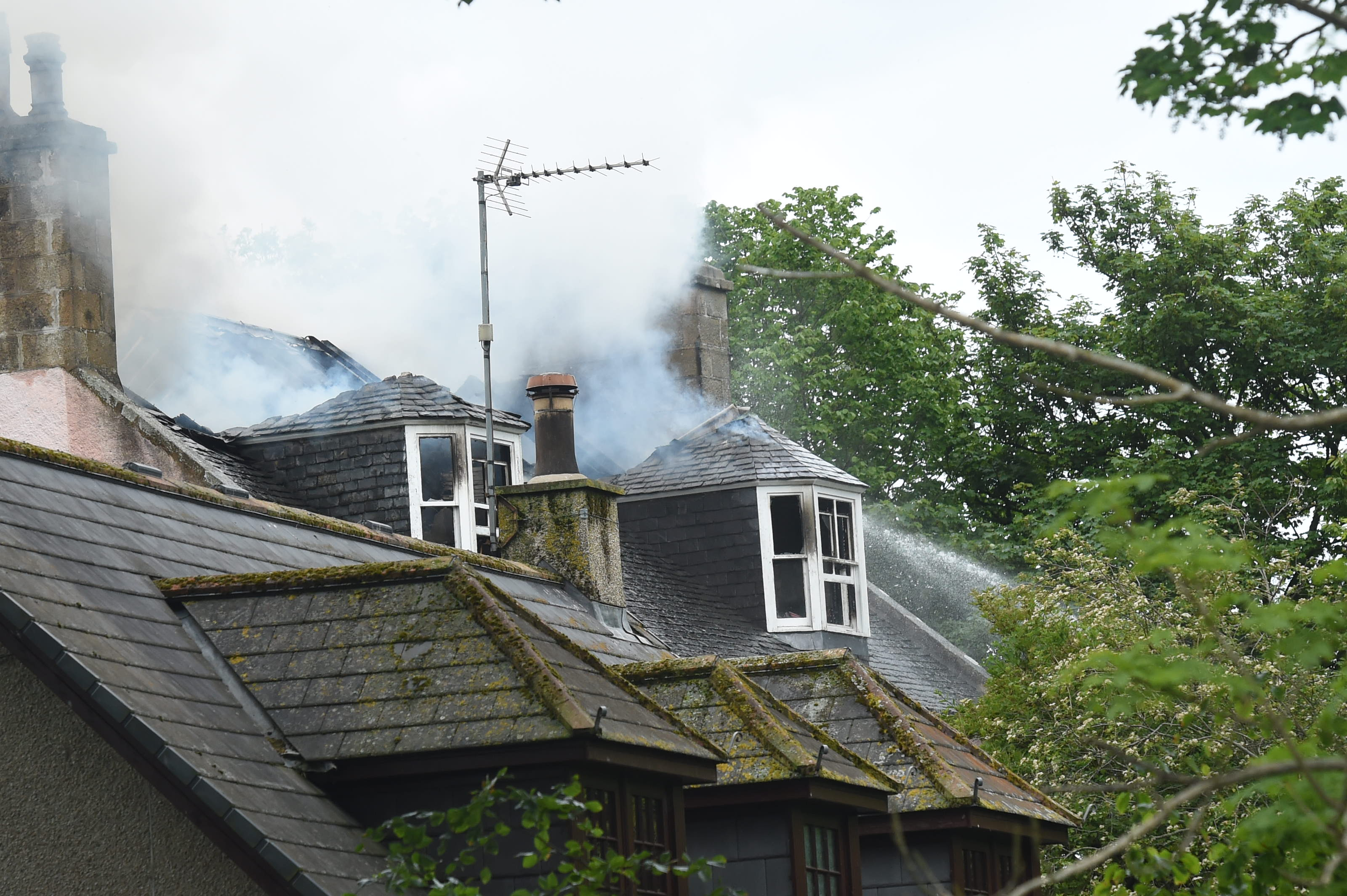 The fire broke out in a property on Inn Brae