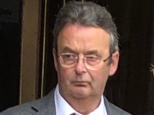 Paul Combe leaving Aberdeen Sheriff Court