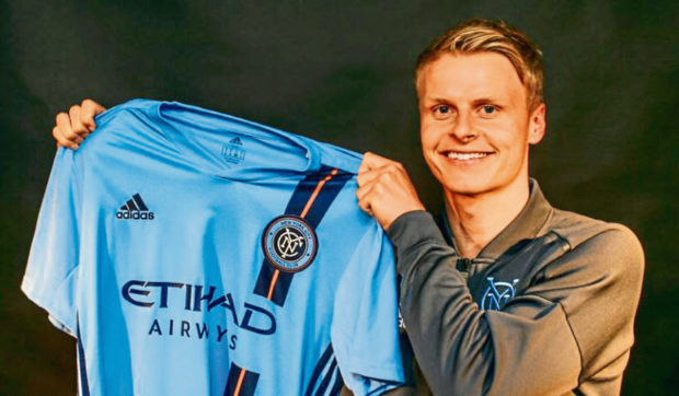 Gary Mackay-Steven after signing for New York City FC. Picture courtesy of New York City FC