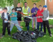 Riverbank Primary pupils with their haul after the litter pick, from left, Liam Inglis, Mac Adams, Rafal Kopec, Councillor John Wheeler, Ruby Robertson, Cameron Brebner and Leland Burns