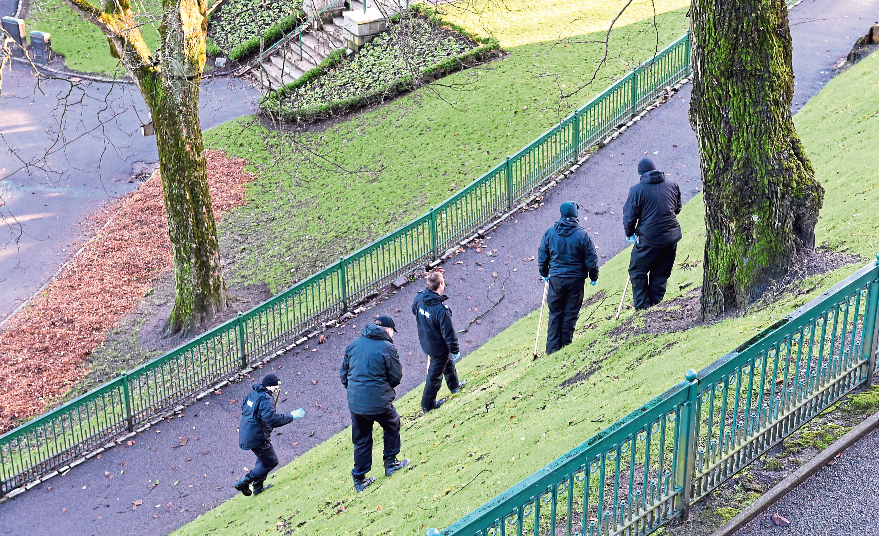 Police investigate the alleged attack in Union Terrace Gardens
