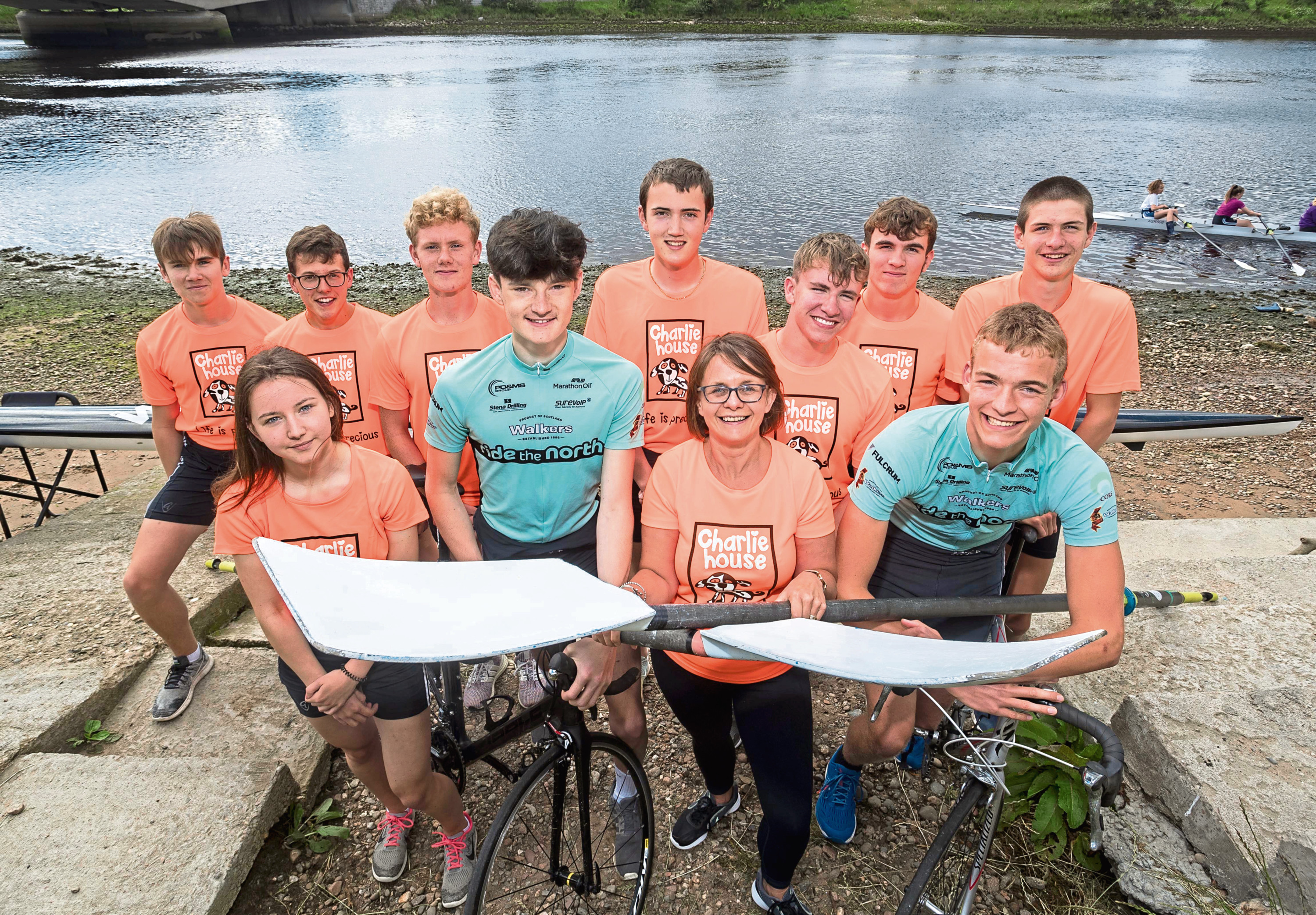 The members of Aberdeen Schools Rowing Association who are to take on the 143 mile Ride the North Challenge