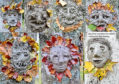 Clay faces created during one of artist Bibo Keeley's previous creative events.