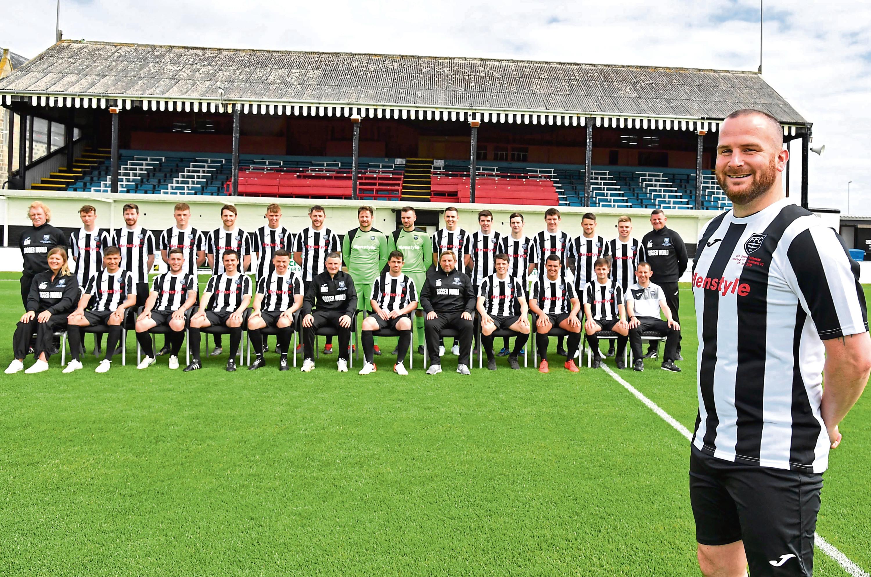 Ryan Christie with his team-mates ahead of his testimonial match against local rivals Peterhead at Bellslea