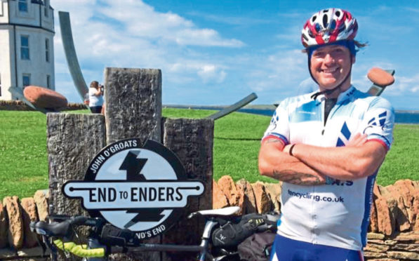 Fraser Beattie Inverurie cyclist riding from John O'Groats to Lands' End to raise money for Epilepsy Scotland