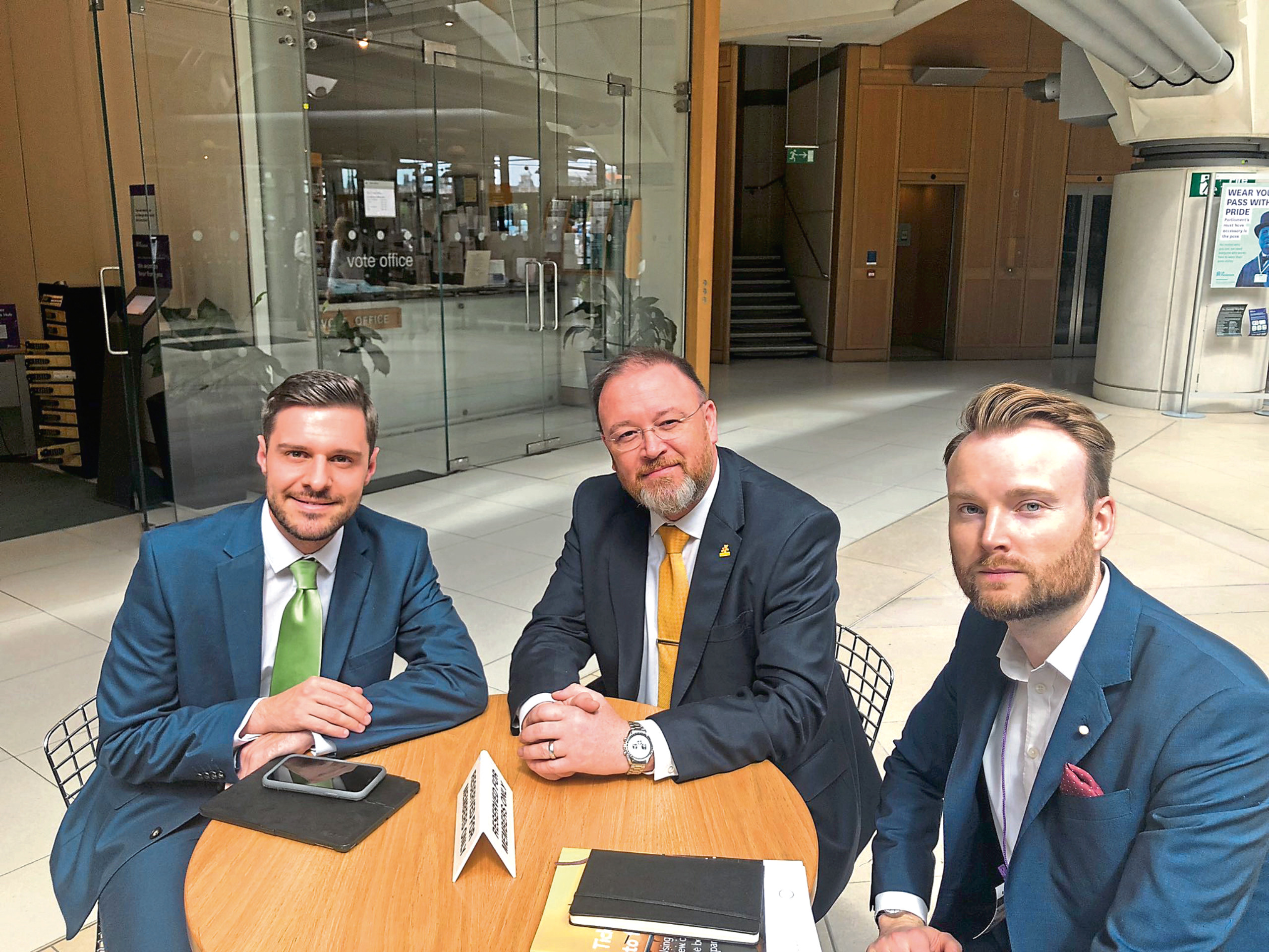 MPs Ross Thomson and David Duguid meeting with Richard Bassford from Virgin Atlantic