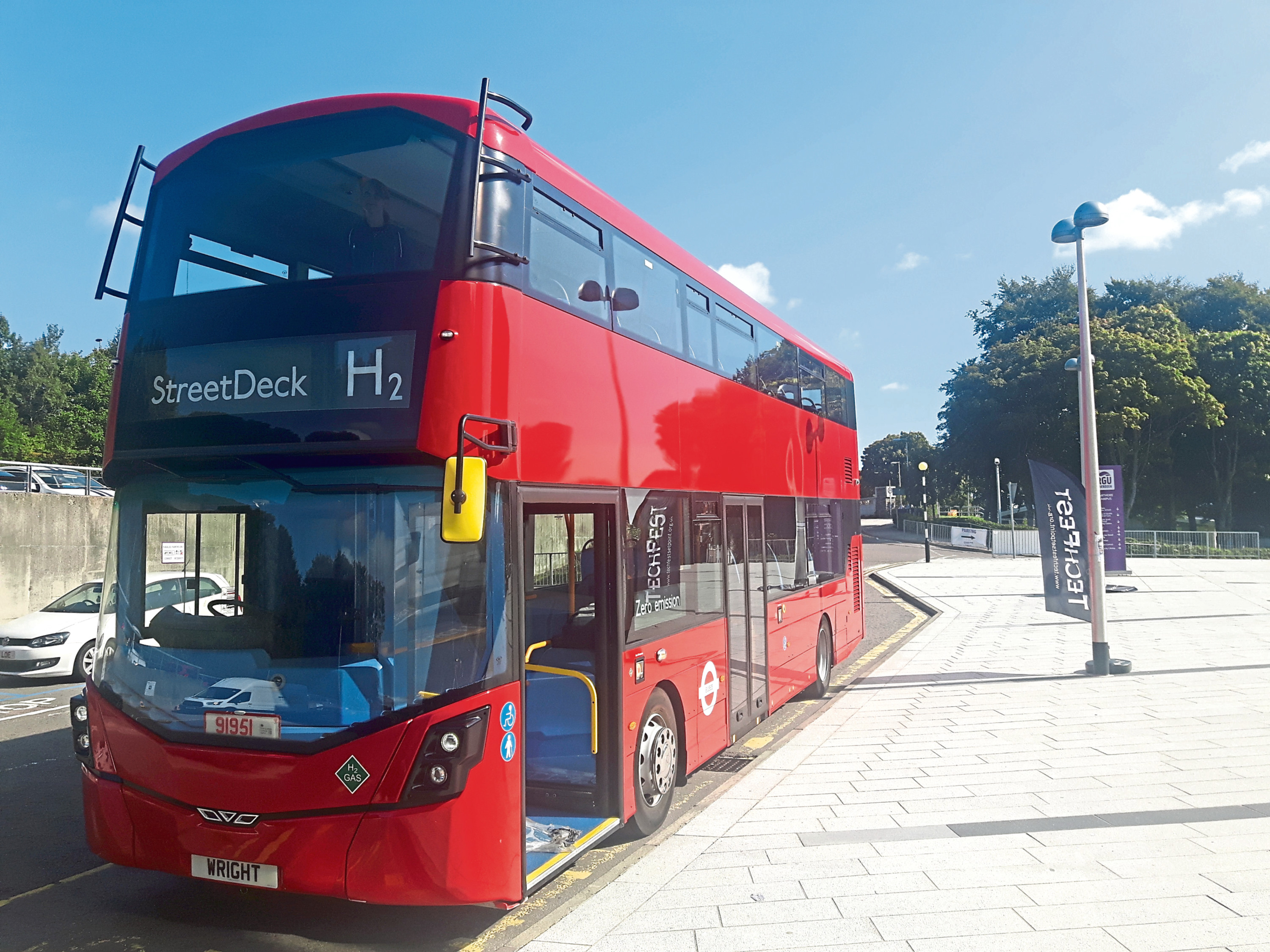 One of the new hydrogen double decker buses