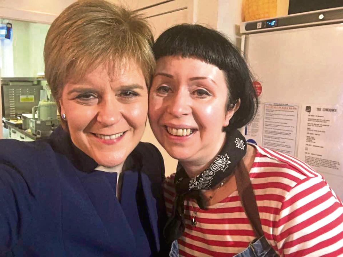 Nicola Sturgeon with staff member Catriona Platten