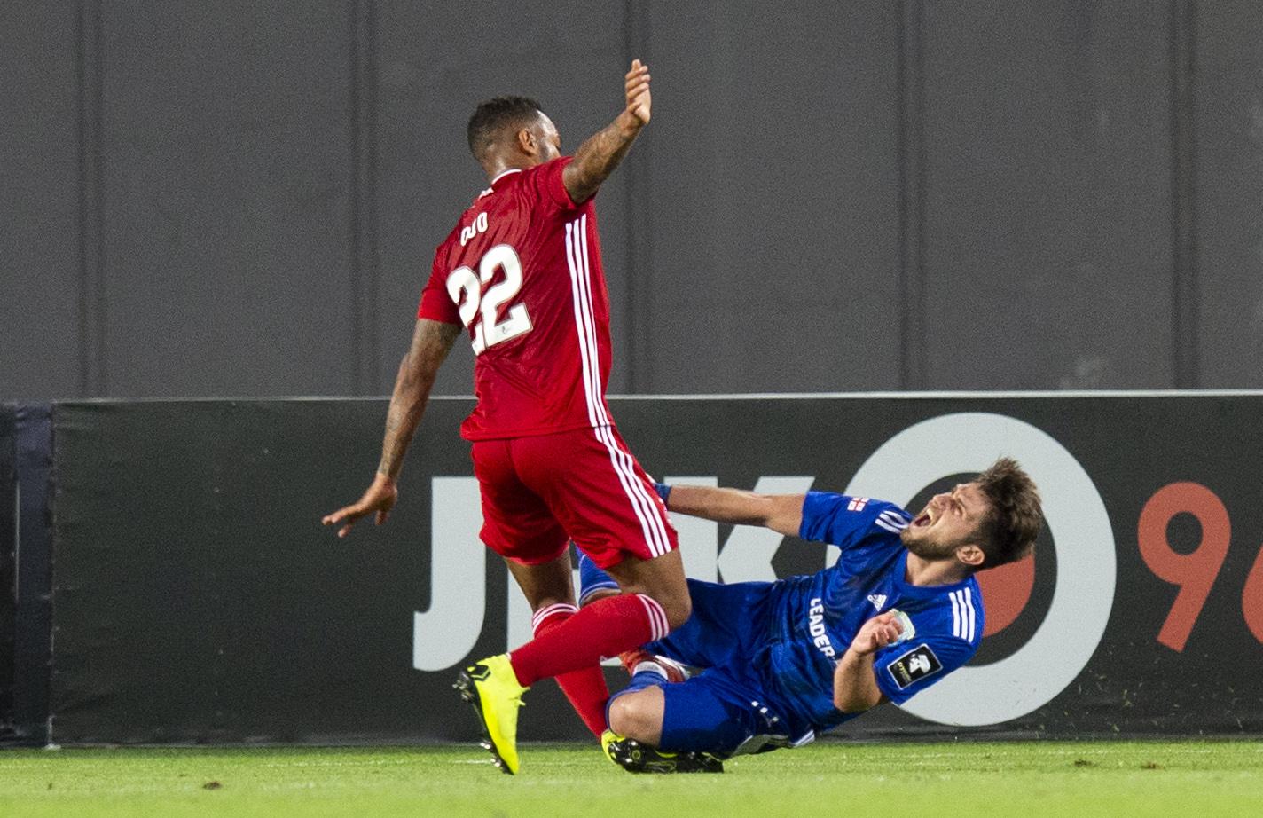 Irakli Lekvtadze goes down to win a penalty.
