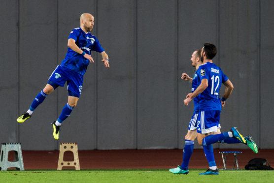 Chikhura's Giorgi Koripadze celebrates his opening goal