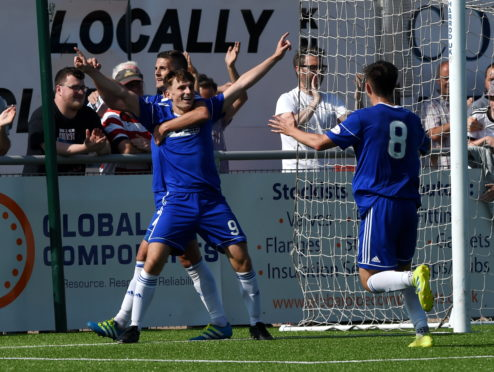 Chris Antoniazzi (No9) celebrating with team mates after scoring for Cove Rangers against Inverurie Locos