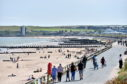 Crowds flocked to Aberdeen beach today