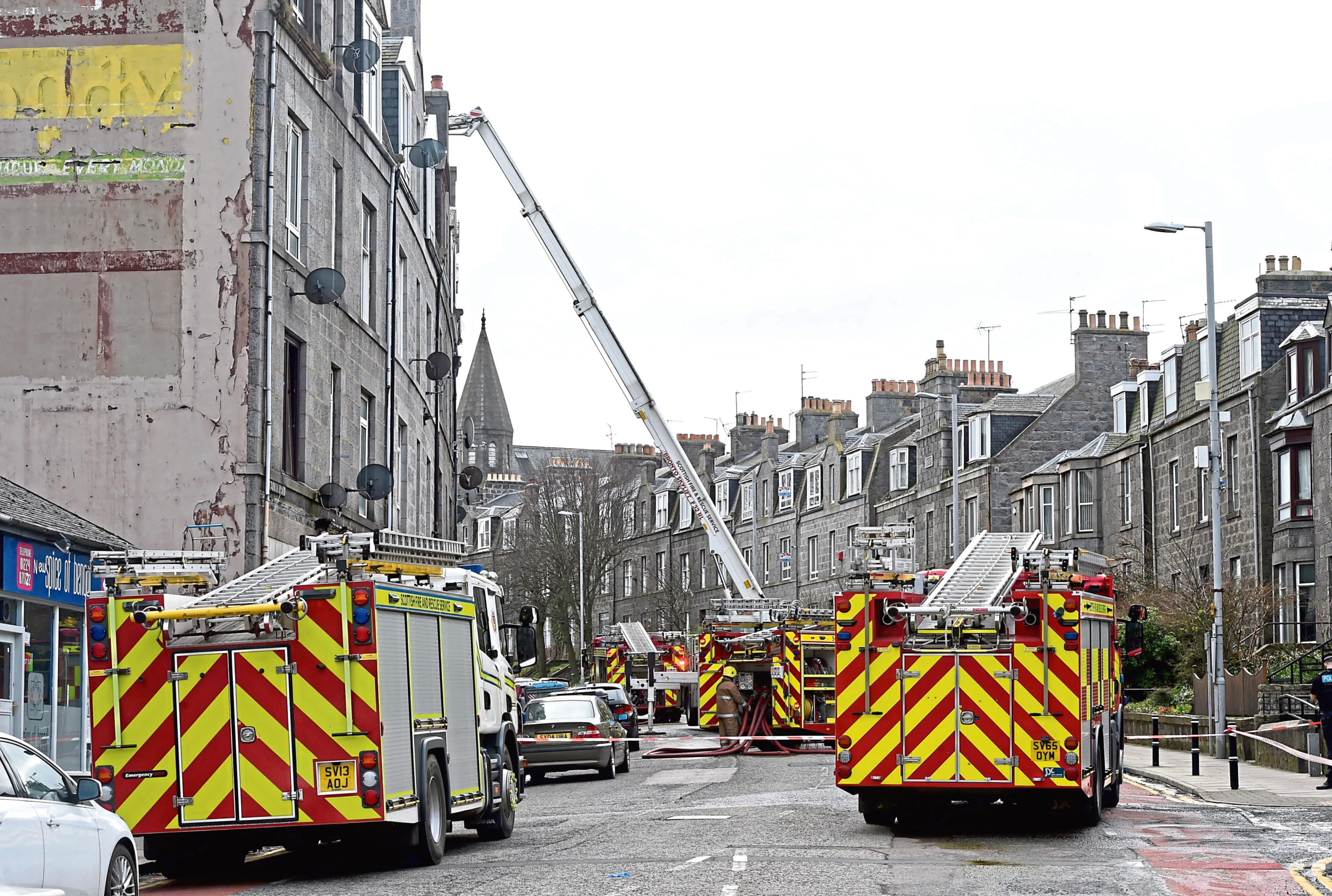 Emergency services attending the roof fire on Victoria Road
