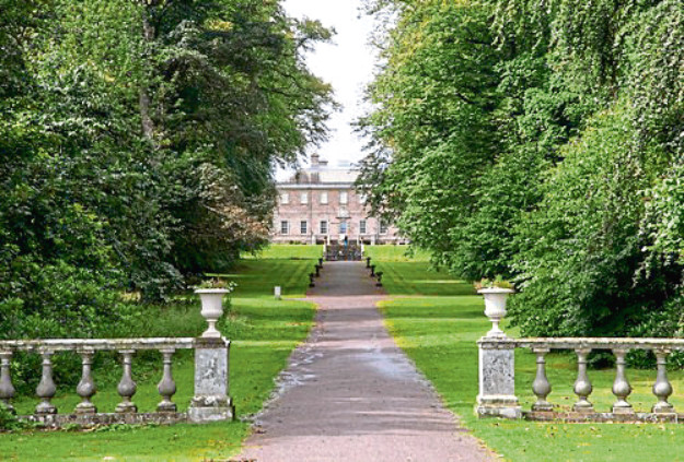 The concert features songs based on paintings at the entrance of Haddo House, pictured