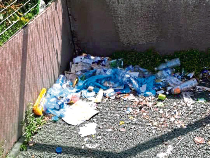 Litter has been left at the Carnie pitch at Westhill