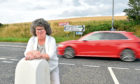 Councillor Gillian Owen at the A948 Golf Road junction at Ellon, where speed monitoring has taken place