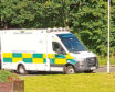 An ambulance at the scene in Cruden Bay