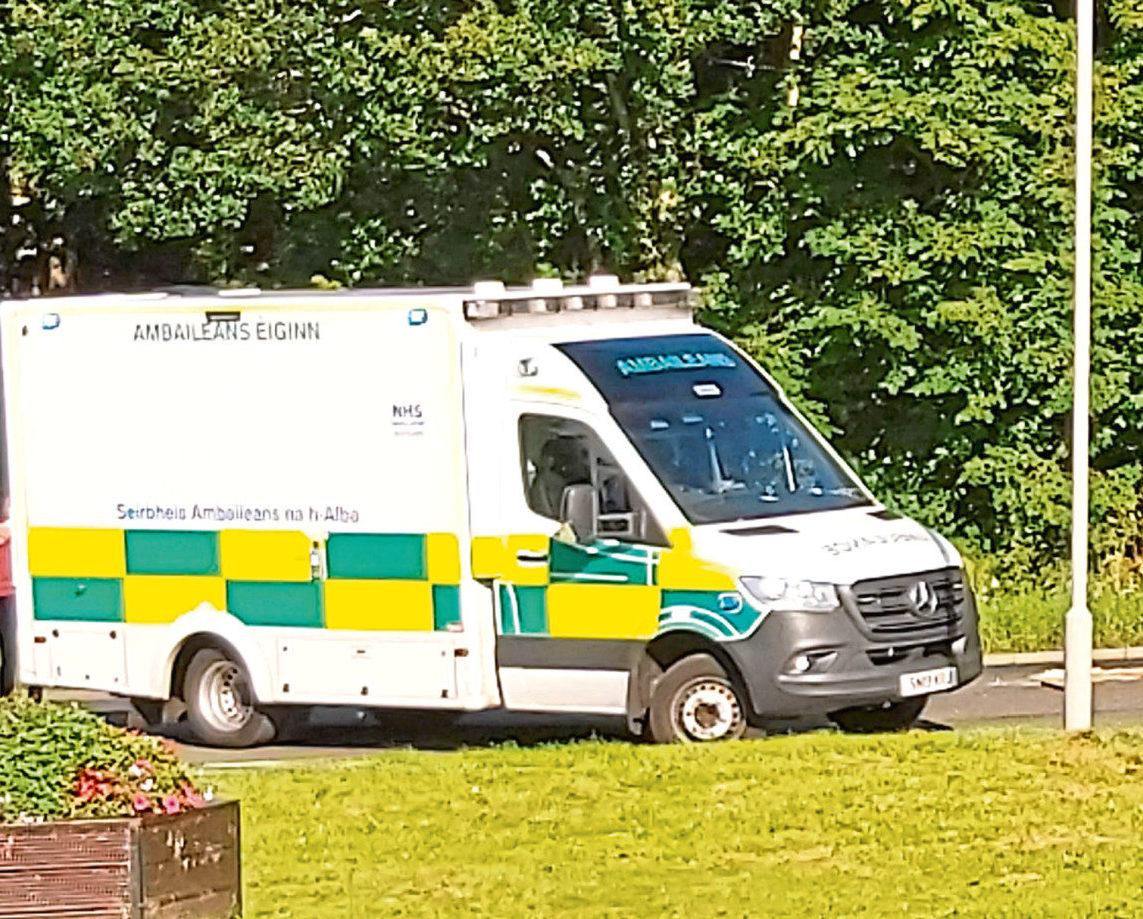 An ambulance at the scene in Cruden Bay