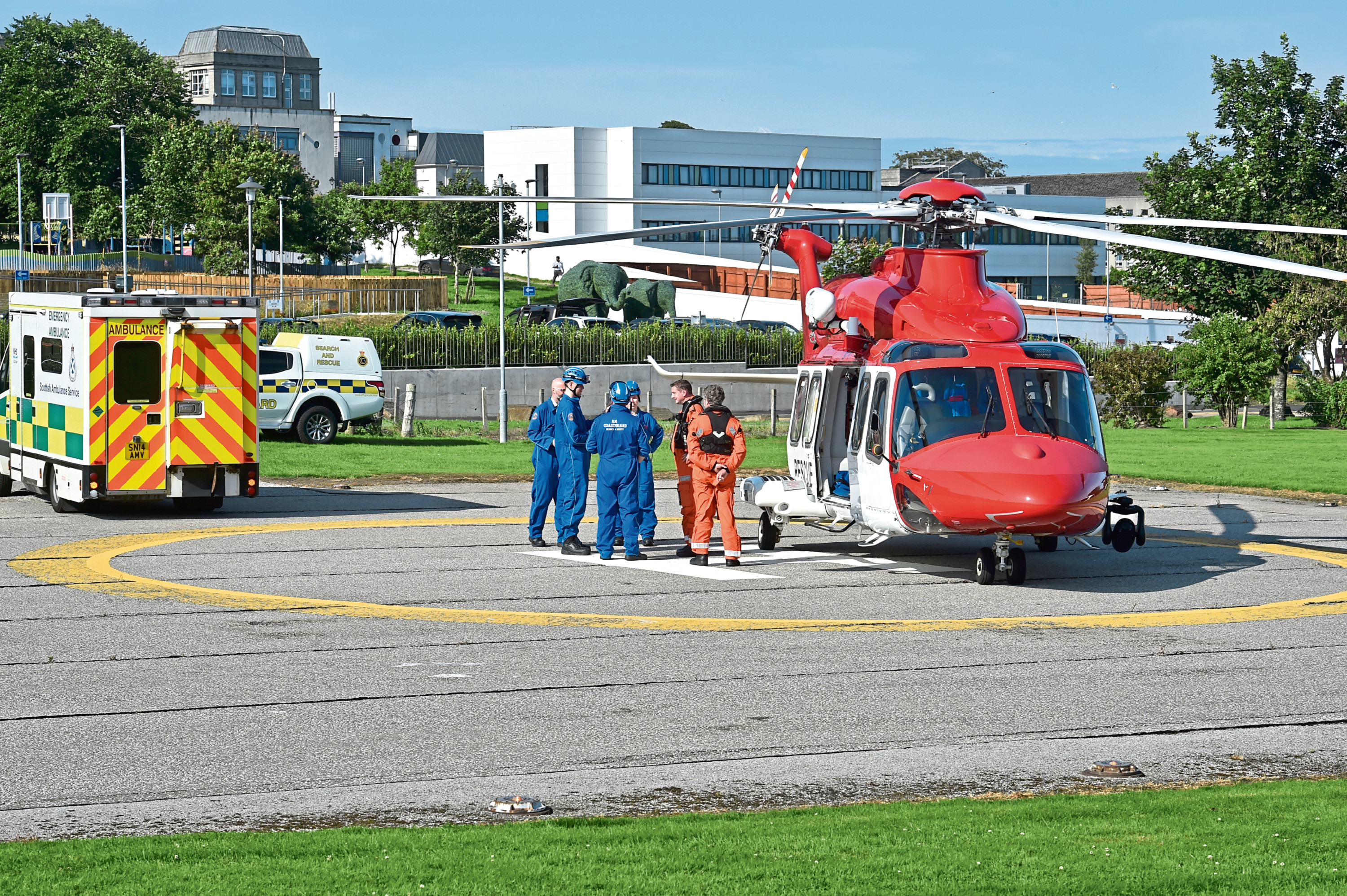 A rescue helicopter at Aberdeen Royal Infirmary