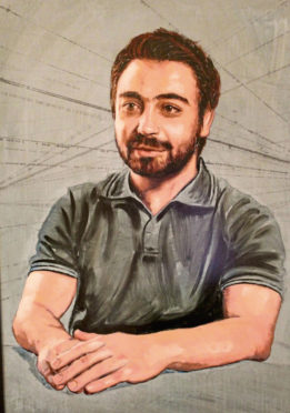 A portrait of Aberdeen PHD student Mohamed Zaher Al Bakour, which features in a new art exhibition