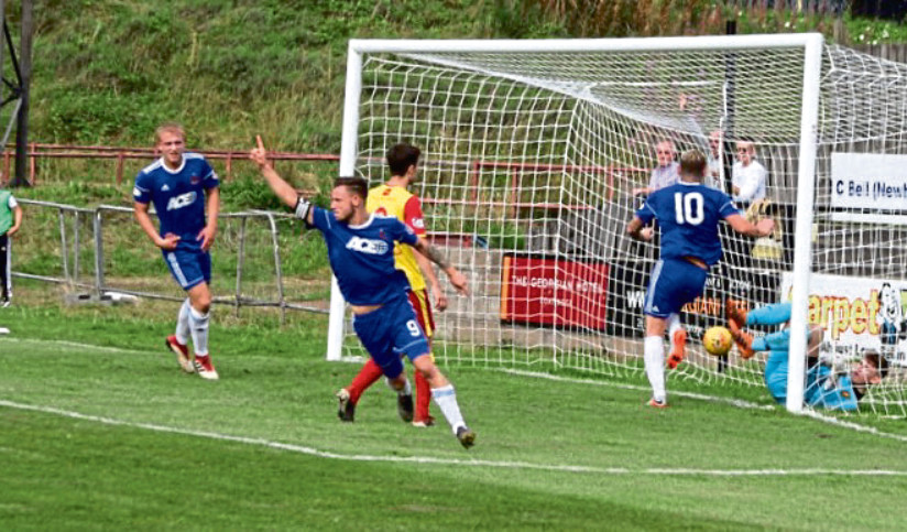 Mitch Megginson celebrating late equaliser in Cove Rangers' 4-4 draw against Albion Rovers