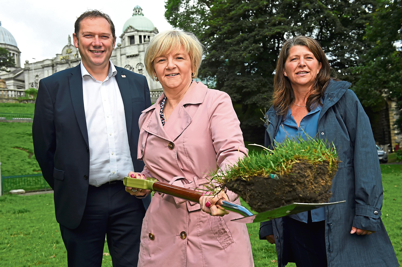 Council Co-Leaders Douglas Lumsden, Jenny Laing, and culture spokesperson Cllr Marie Boulton