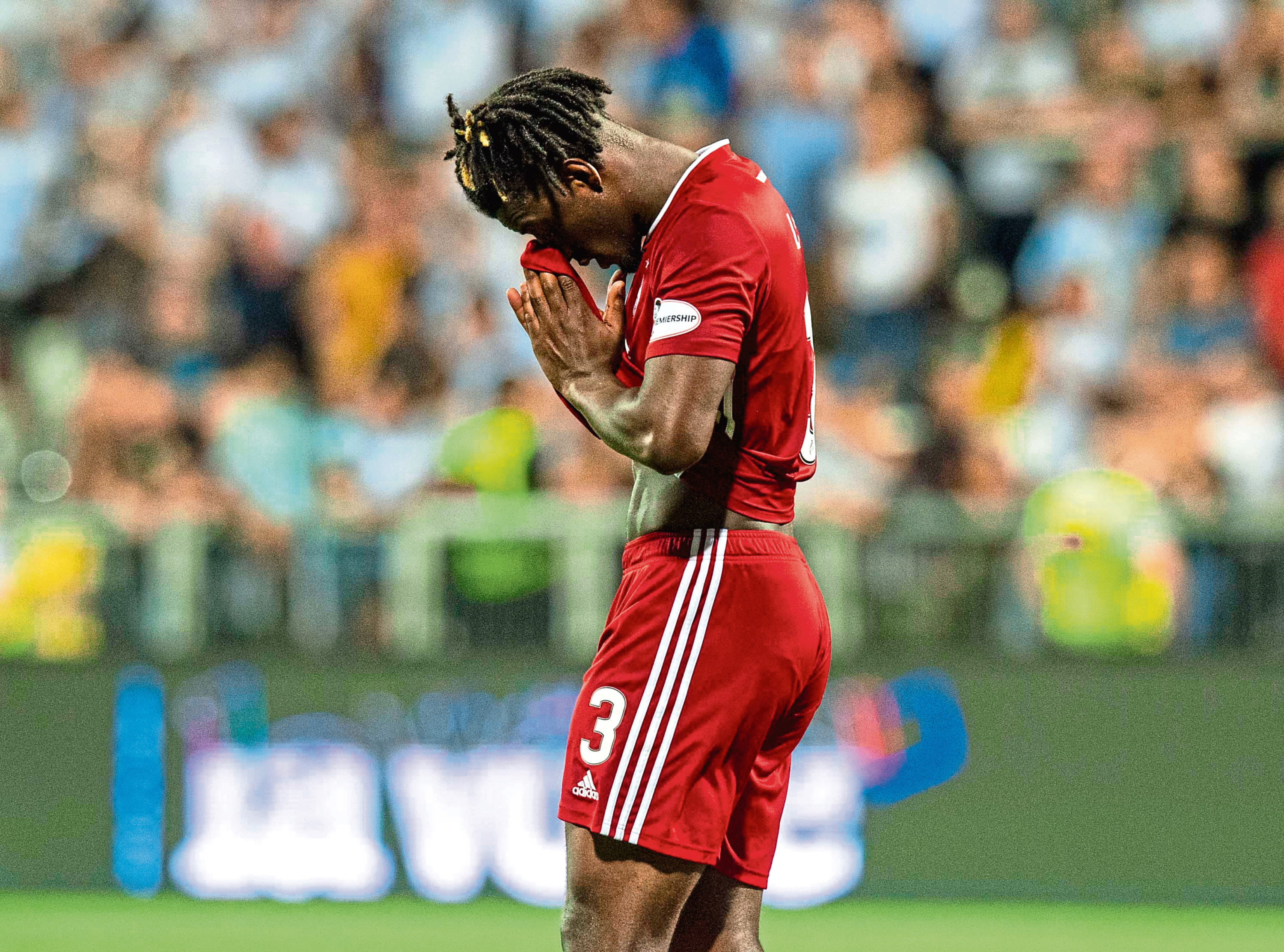 Aberdeen's Greg Leigh shows his frustration in Rijeka