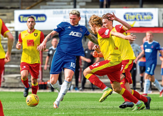 Martin Scott in action against Albion Rovers