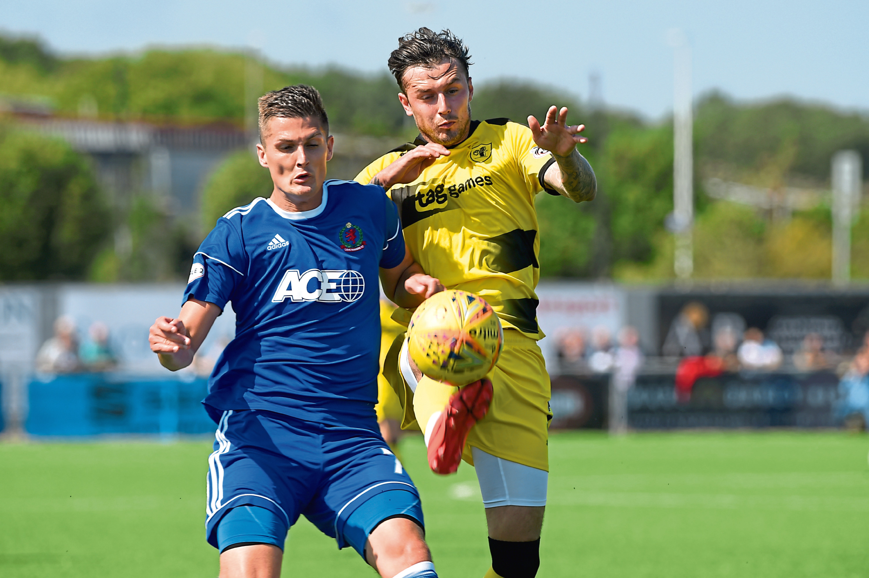 Daniel Park (left in action for Cove Rangers). Picture by Kenny Elrick