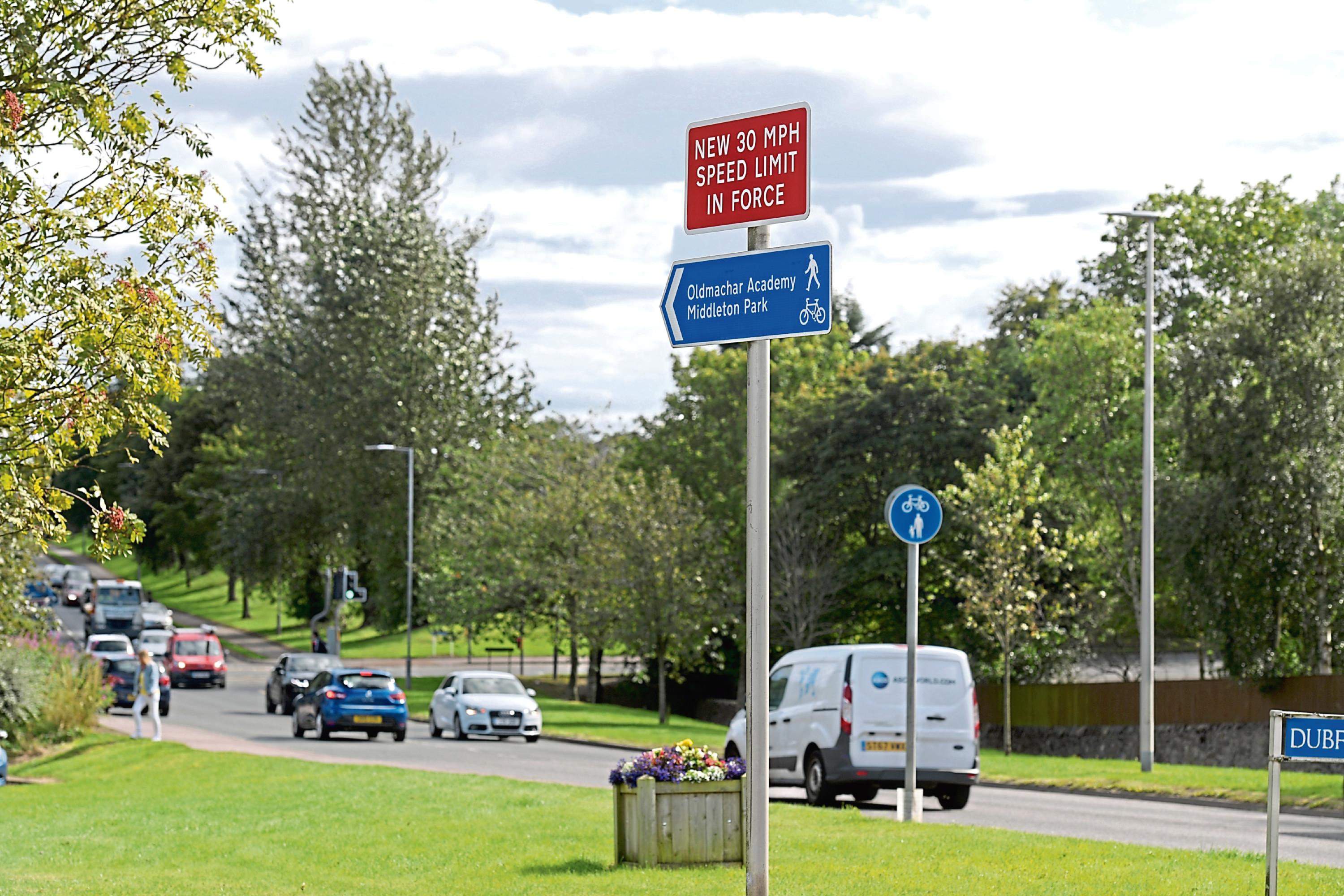 New road signs show the speed has been slashed on Scotstown Road